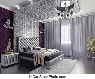 bedroom interior - modern style bedroom interior 3d render (...