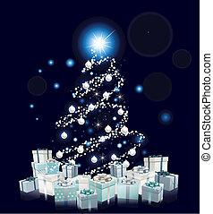 Modern Style Blue Christmas tree