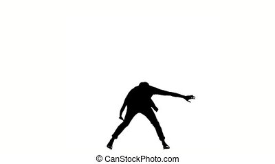 Modern style dancer continue dancing brake-dance, on white, slow motion, silhouette