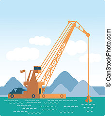 Modern style flat Huge crane barge Industrial ship that digs...