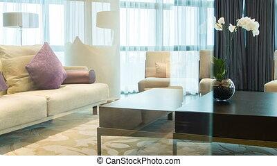 Modern style interior with flower