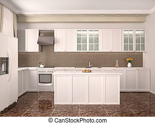 modern style kitchen interior. 3d illustration.