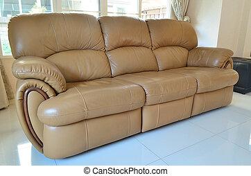 Modern style of light brown sofa