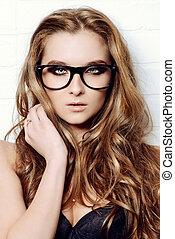 modern style - Optics style. Beautiful sexy girl with long ...