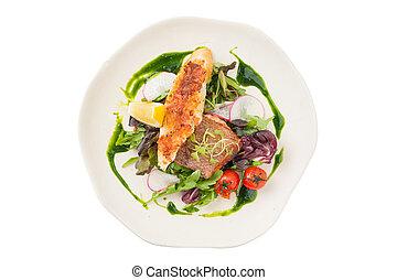 Modern style salmon steak