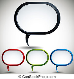 Abstract modern style speech bubble vector backgrounds color versions set.