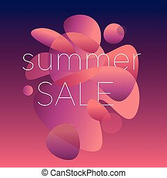 Modern style summer colors sale poster. Pink and purple...