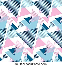 Modern style vector illustration for surface design. Abstract seamless pattern with striped triangle motif.