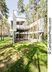 Modern stylish house in the forest
