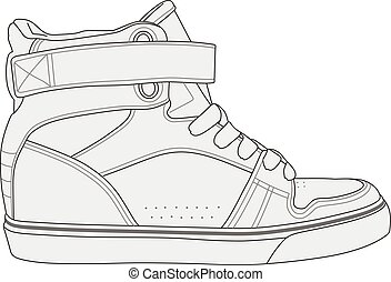 Modern stylish sneakers - Simple black and white vector...
