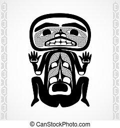 Modern stylization of Canadian native art, a man