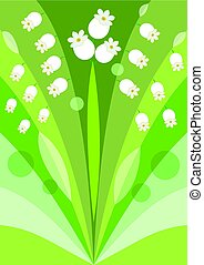 Modern stylized flower background with lily of the valley,...