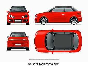 Modern subcompact city car mockup. Side, top, front and rear...