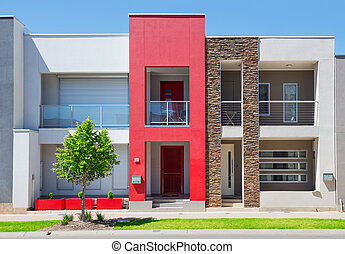 Modern Suburban House - typical facade of a modern town ...