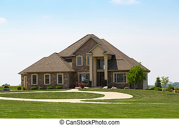 modern suburban stone detached house