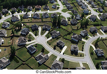 Aerial of modern suburbban housing in the eastern United States.