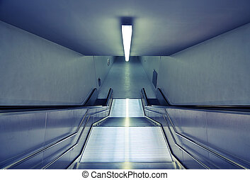 modern subway stairs - downward view of modern steel subway...