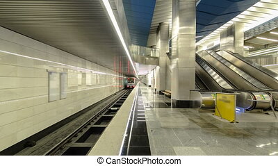 modern subway station Delovoy center, business center timelapse, hyperlapse. Moscow, Russia.