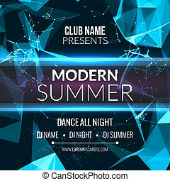 Modern Summer Club Music Party Template, Dance Party Flyer, brochure. Night Party Club sound Banner Poster.