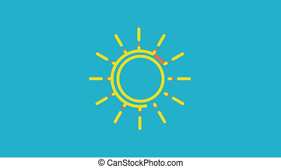 modern sun on blue background. Animation with alpha channel