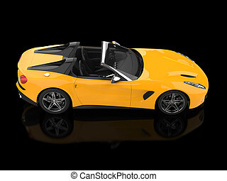 Modern sun yellow cabriolet sports car - top down view - 3D Illustration
