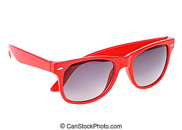 Modern sunglasses isolated on white background. Red color.