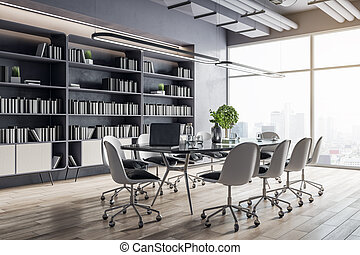 Modern sunny conference table with white tables around on wooden floor in spacious hall room with huge library on the wall and city view from big window