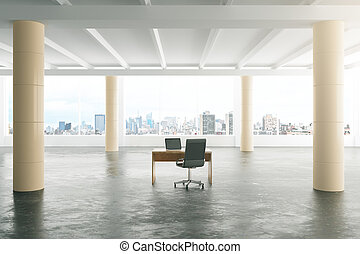 Modern sunny loft style open space office with furniture, big windows and pillars