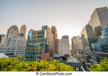 Modern sunset skyline of a big city