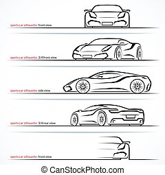 Modern super car, sports car vector silhouettes, outlines,...