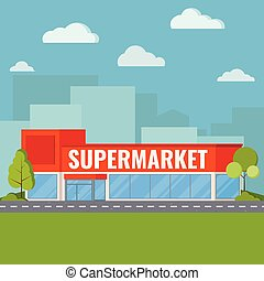 Modern supermarket building near highway road with with bushes and trees, clouds on blue sky, green grass on cityscape shadow background Flat cartoon style vector illustration.