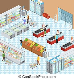 Modern Supermarket Interior Isometric Composition Poster