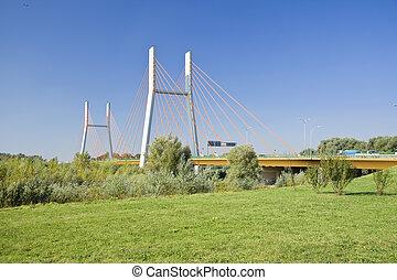 Modern suspension bridge.