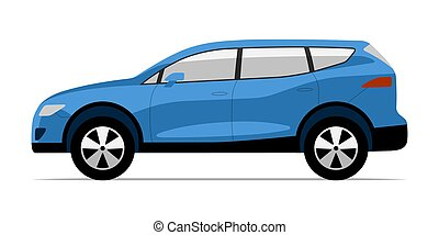 Modern SUV car in flat style. Side view of sports utility vehicle isolated on white background
