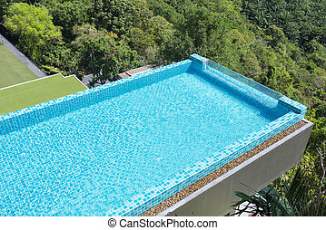 modern swimming pool view from the top