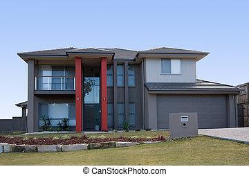 modern, szürke, épület, noha, piros, oszlop