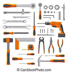 modern, szerelő, eszközök, állhatatos