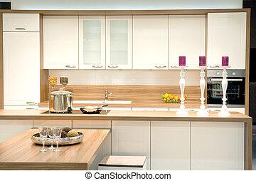modern, szerelt, konyha
