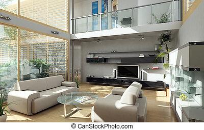 modern, szoba