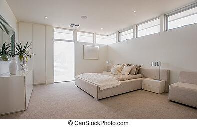 modern, tágas, hálószoba