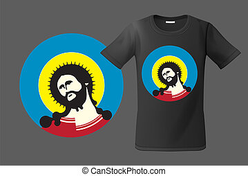 Modern t-shirt design with portrait of Jesus Christ, use for sweatshirts and souvenirs, cases for mobile phones, vector illustration.