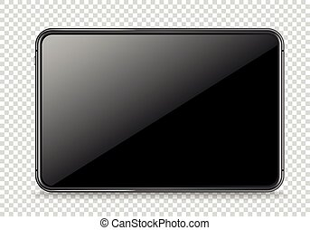 Modern tablet device vector mockup isolated on transparent. Place any content into the screen