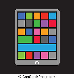 Modern tablet gadget with abstract color tile interface template