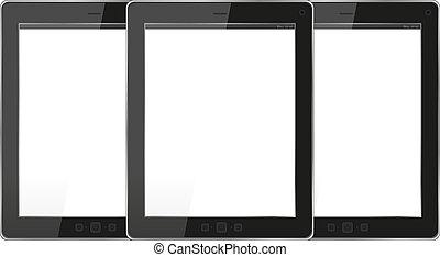 Modern tablet pc set on white