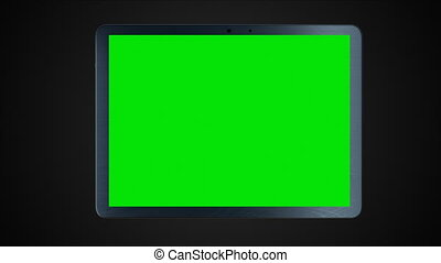 Modern tablet pc with green screen for creative, 3d...