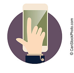 Modern tablet with hand. Vector illustration.
