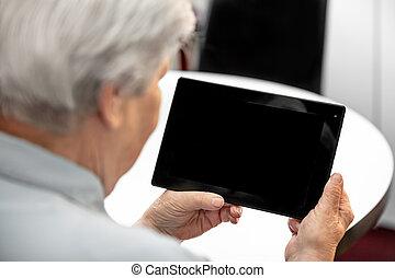 modern, tabletta, nagyanyó, látszó, számítógép, öregedő, íróasztal, technológia, nők
