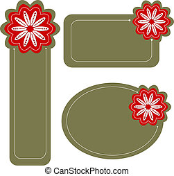 Modern tags or labels with flower
