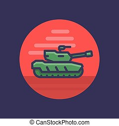 modern tank icon in flat style with outline