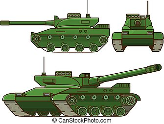 Modern tank military.Isolated on white background. Flat vector.